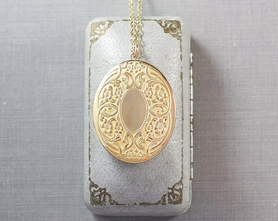 Gold Filled Oval Locket Necklace, Large Embossed Vintage Picture Locket with Original Rims Photo Frames - Twirling Vine