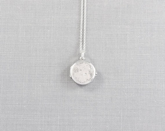Small Round Flower Locket Necklace, Sterling Silver Forget Me Not Engraved - Two Flowers