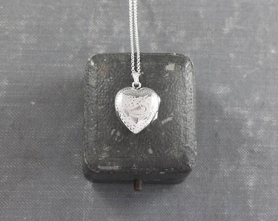Small Heart Locket Necklace, Vintage Sterling Silver Birks Floral Engraved Pendant - Sweet Pea