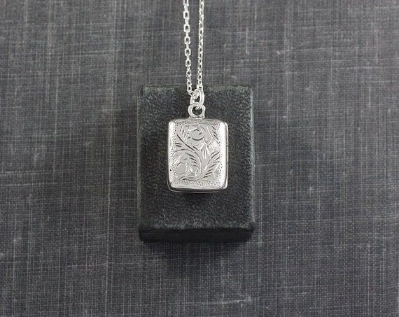Sterling Silver Book Locket Necklace, Rectangle Photo Pendant - Pretty Paisley