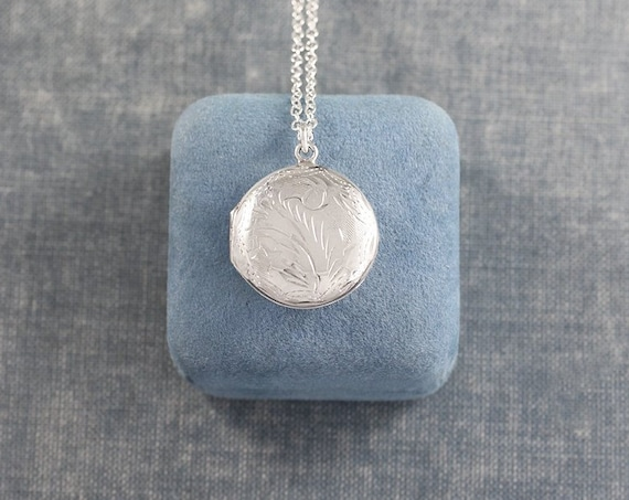 Vintage Sterling Silver Locket Necklace, Small Round Picture Pendant Long Length Chain - A Dash of Interest