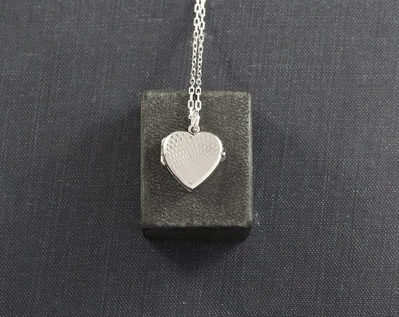 Extra Small Sterling Silver Heart Locket Necklace, Vintage Photo Pendant - Sunset