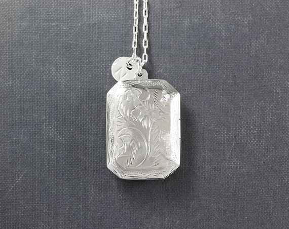 Silver Book Locket Necklace, Vintage Sterling Silver Picture Pendant - Photo Cabinet