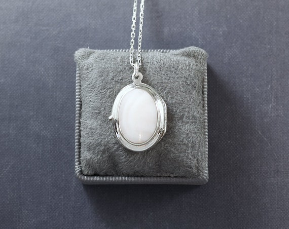 Mother of Pearl Cabochon Sterling Silver Locket Necklace, Small Oval Vintage Pendant - White as Snow