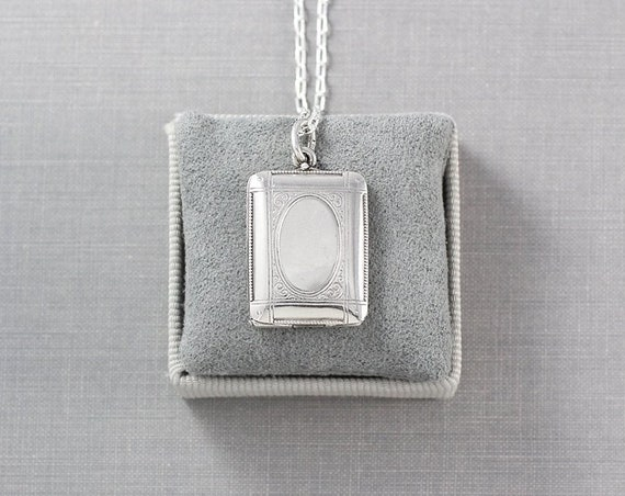 Antique Sterling Silver Locket Necklace, Book Photo Pendant - Picture Perfect