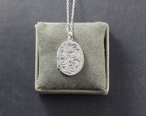 Vintage Sterling Silver Locket Necklace, Small Oval Hand Engraved Swirls Birmingham Hallmarks - Beautiful Craftsmanship