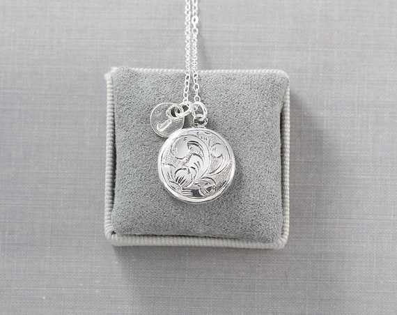 Small Round Sterling Silver Locket Necklace, Custom Hand Stamped Initial Charm - Heirloom Silver Jewelry