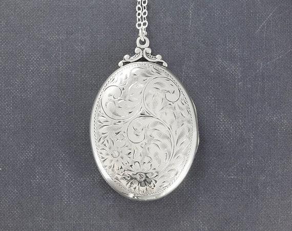 Large Oval Sterling Silver Locket Necklace, Vintage Photo Pendant - Memories