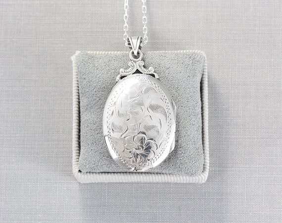 Sterling Silver Locket Necklace, Vintage Oval Double Photo Pendant - Crowned Beauty