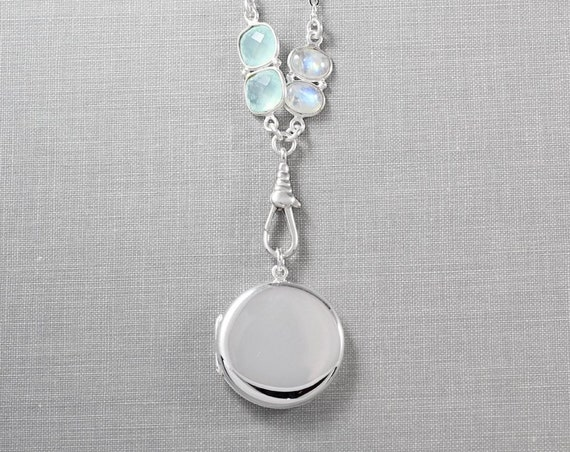 Moonstone & Chalcedony Sterling Silver Locket Necklace, Modern Plain Round Photo Pendant - Moon Glow