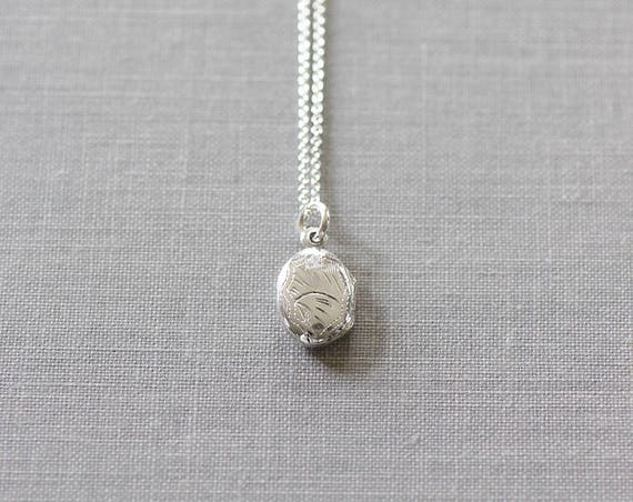 Teeny Tiny Silver Locket Necklace, Sterling Silver Simple Engraved Pendant - Lady Like