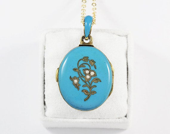 Antique Blue Enamel Gold Locket Necklace, Seed Pearl Robin's Egg Blue Photo Pendant - Branches