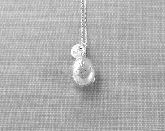 Sterling Silver Locket Necklace, Tiny Oval Photo Pendant with Custom Initial Charm - Drip of Silver