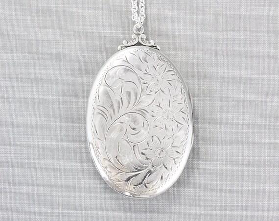 Extra Large Sterling Silver Locket Necklace, Beautiful Oval Photo Pendant - Nostalgic Beauty