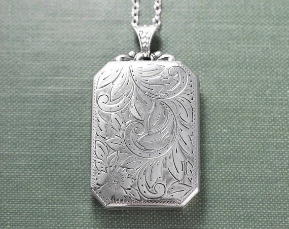 Large Sterling Silver Book Locket Necklace, Vintage Rectangular Photo Pendant with Original Embossed Bail - Adornment