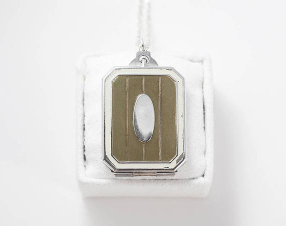 Sterling Silver Enamel Locket Necklace, Vintage 1920's - 1940's Olive Green Book Shaped Photo Pendant - Moderne