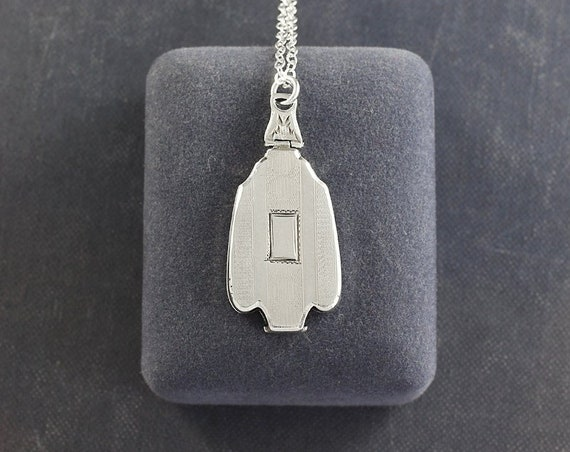 Sterling Silver Locket Necklace, Art Deco 1920's Geometric Photo Pendant - Prism Pendant