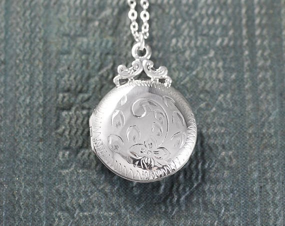 Round Sterling Silver Locket Necklace, Engraved Floral Photo Pendant - Love Always