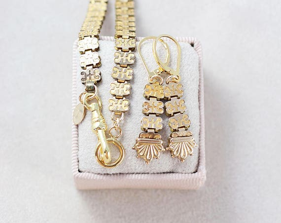 Antique Gold Filled Book Chain Necklace & Earrings Set, Guard Chain Style Swivel Clasp and Ring - Golden Statement