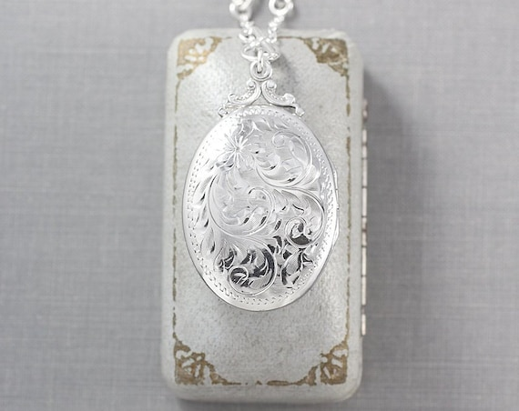 RESERVED Layaway Sterling Silver Birks Locket Necklace, Vintage Oval Photo Pendant on Special Filigree Chain - Timeless Heirloom