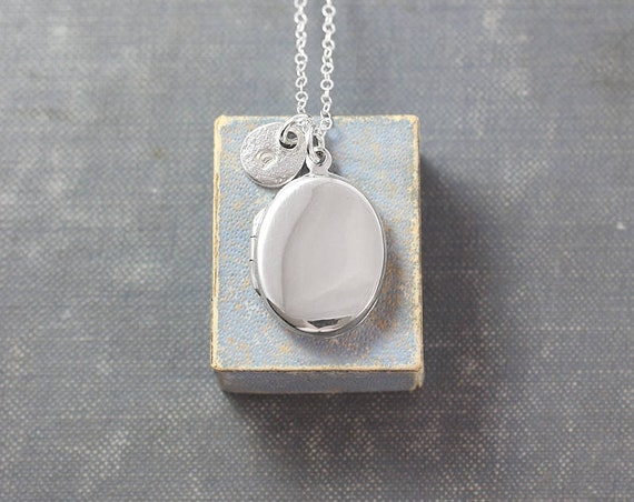 Sterling Silver Oval Locket Necklace, Modern Plain Polished Small Photo Pendant with Hand Stamped Letter Charm - Beautiful Simplicity