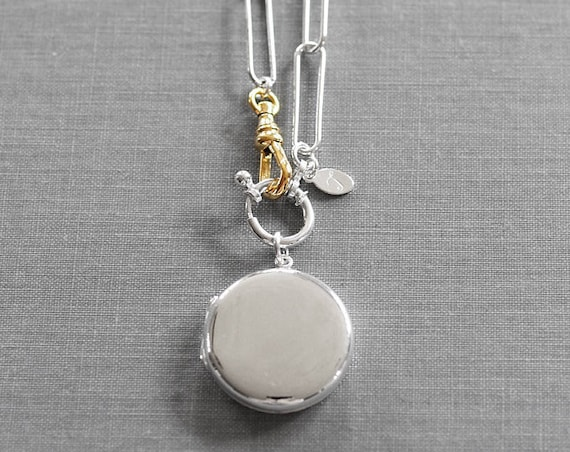 Modern Sterling Silver Round Locket Necklace, Contemporary Large Link Paperclip Chain w/ Gold Swivel Lobster Clasp - Statement
