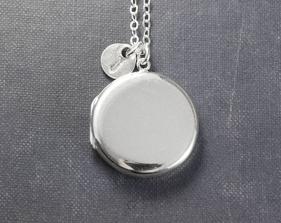 Sterling Silver Locket Necklace, Large Round Plain Polished Modern Photo Pendant with Initial Charm - Shine