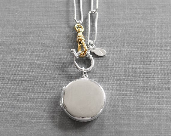 Modern Sterling Silver Round Locket Necklace, Contemporary Large Link Chain w/ Gold Swivel Clasp - Statement