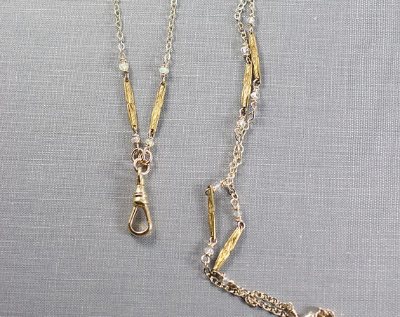 Antique Gold Filled Guard Chain with Opal & Moonstone Accents, Long 30 Inch Necklace with Swivel Clasp - Uniquely Yours