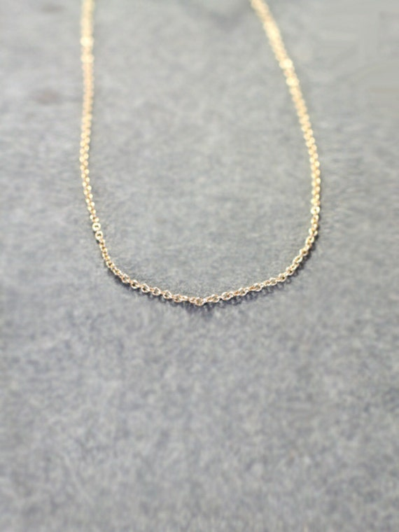 14k Gold Filled Necklace Chain Only, 18 Inch Charmstarter Necklace Dainty 1mm Cable Chain - Uniquely Yours