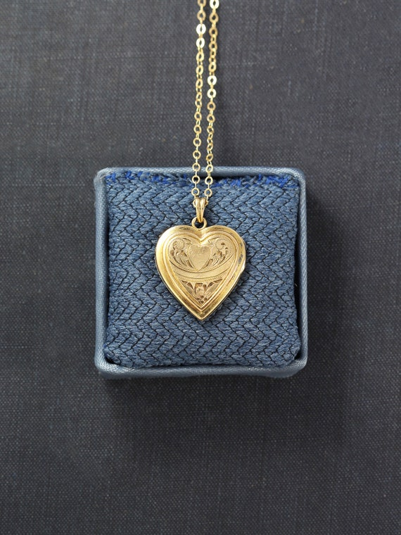 Gold Heart Locket Necklace, Vintage 12K Gold Filled Hayward Locket - I Will Always Love You