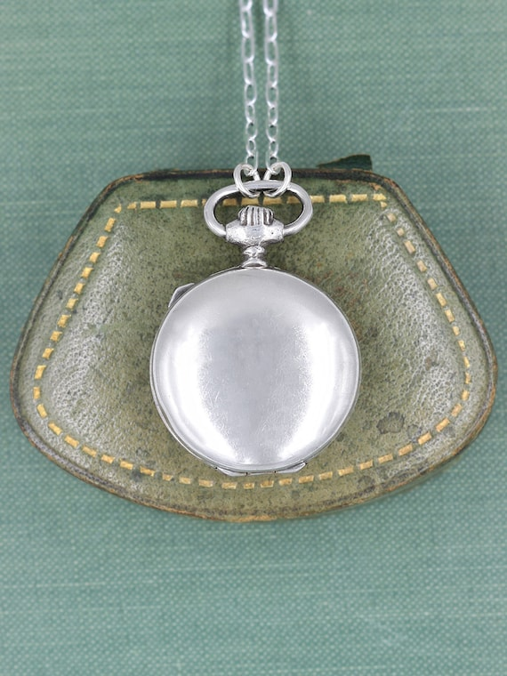 Sterling Silver Pocket Watch Locket Necklace, Large Round Vintage Photo Pendant - Timeless Gift