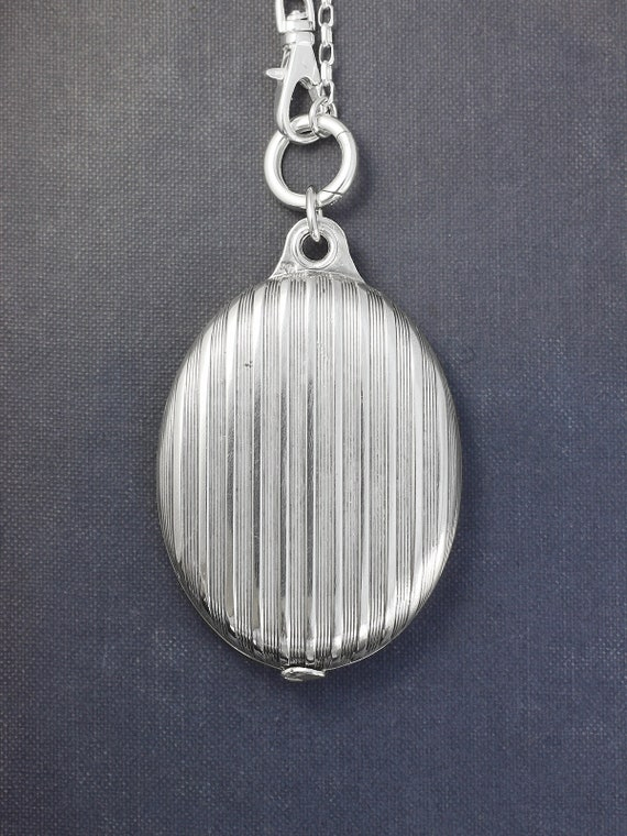 Antique Sterling Silver Compact Locket Necklace, Extra Large Slide Mirror & Photo Pendant on Guard Chain -  Beautiful Reflection