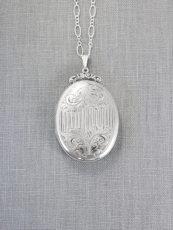 Extra Large Sterling Silver Locket Necklace, Antique Hand Engraved Rare Oval Pendant - Florentine