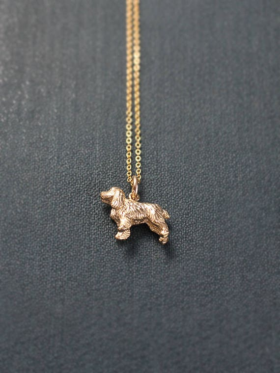 Small 9ct Gold Cocker Spaniel Dog Charm Necklace, Solid 9 Karat Gold Hallmarked Pendant - Best Friend