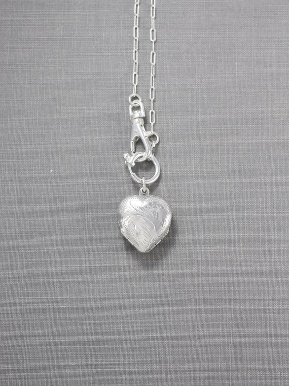 Small Four Photo Heart Sterling Silver Locket Necklace, Vintage Engraved Pendant on Special Swivel Clasp Chain - Family of Four