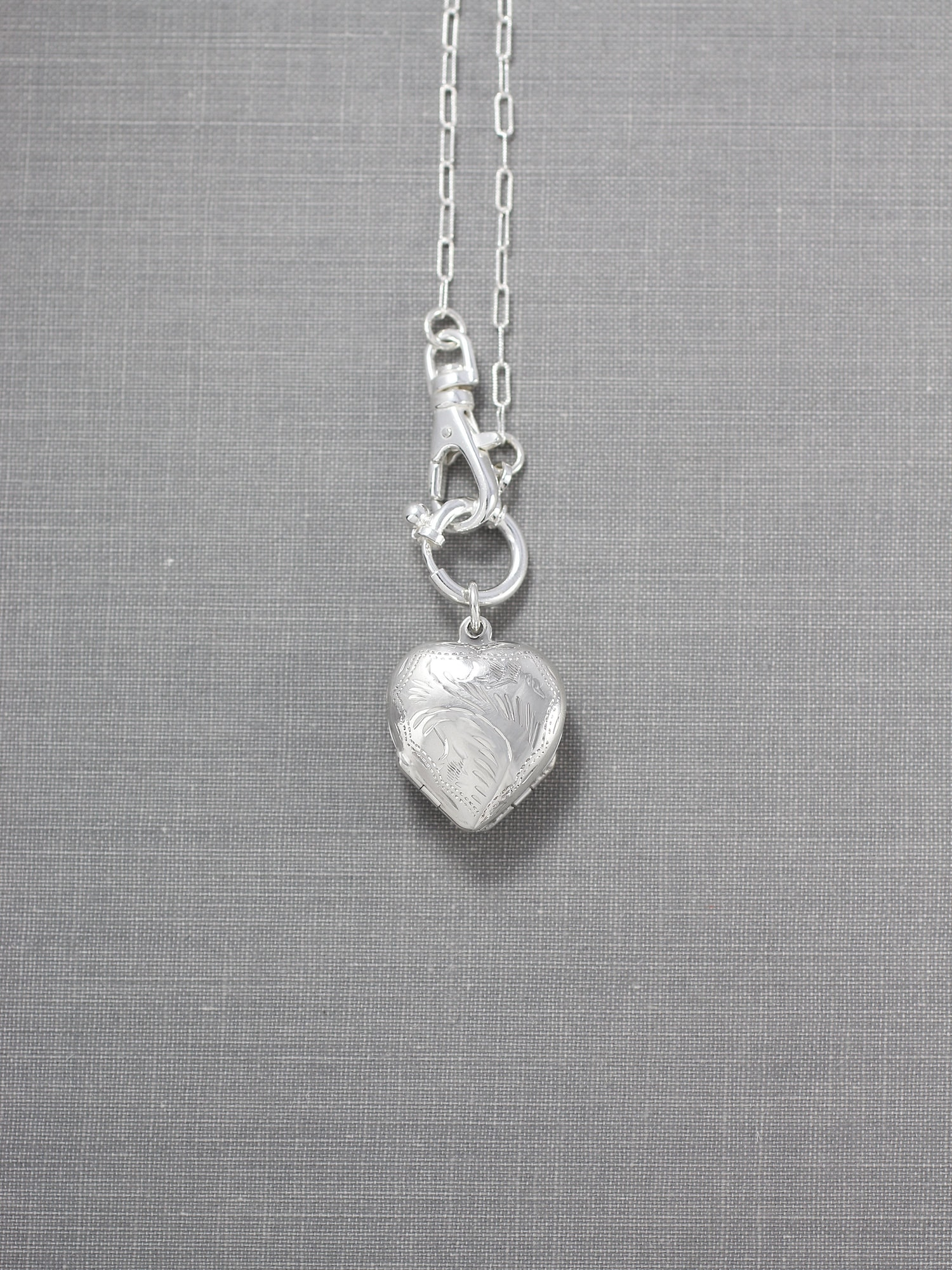 Small Four Photo Heart Sterling Silver Locket Necklace