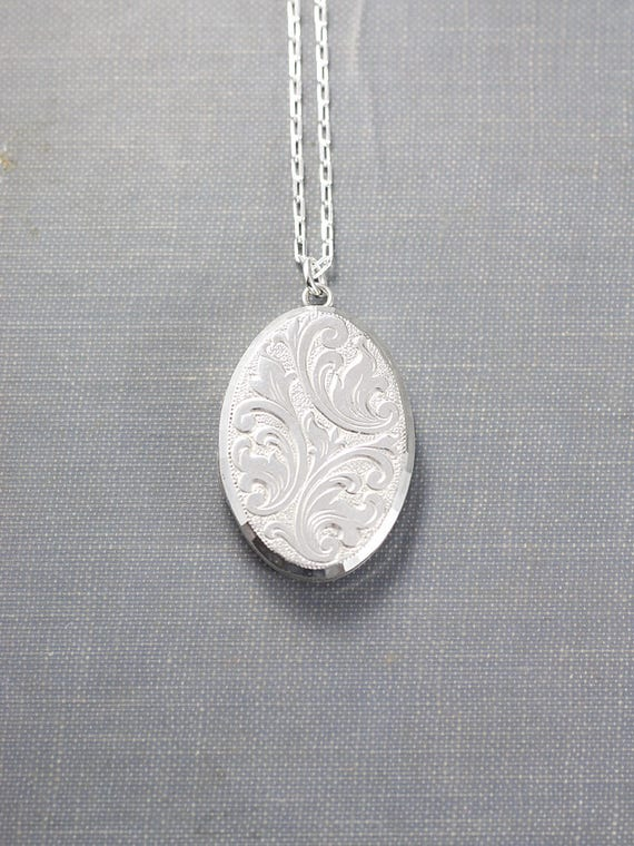 Sterling Silver Locket Necklace, Oval Vintage Raised Relief Repousse Pendant - Harvest Whimsy