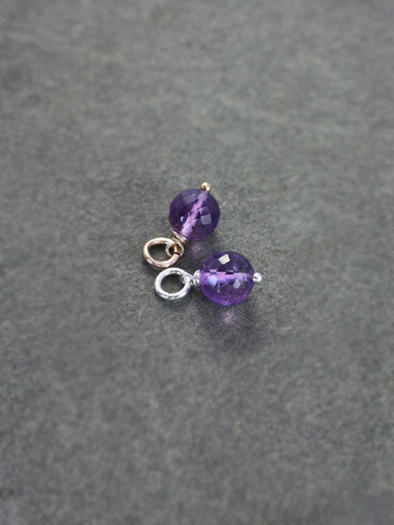 Small Purple Amethyst Pendant, Sterling Silver or 14k Gold Filled Charm February Birthstone - Add a Dangle
