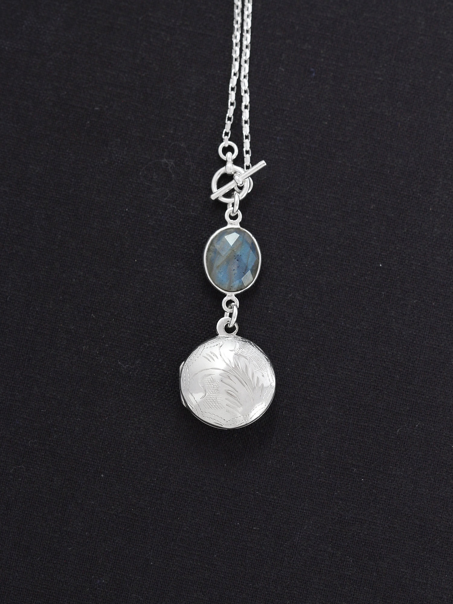 e424adbbaafbe Sterling Silver Labradorite Locket Necklace, Long Chain with Lariat ...