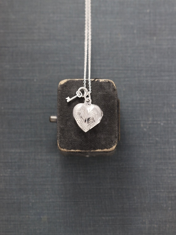 Tiny Heart Locket Necklace, Sterling Silver Vintage Pendant w/ Key Charm - Key to My Heart