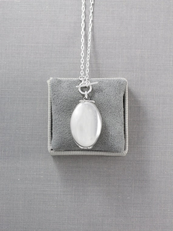 Four Photo Sterling Silver Locket Necklace, Double Toggle Lariat or Long Chain Style Small Plain Oval Photo Pendant - Simplicity