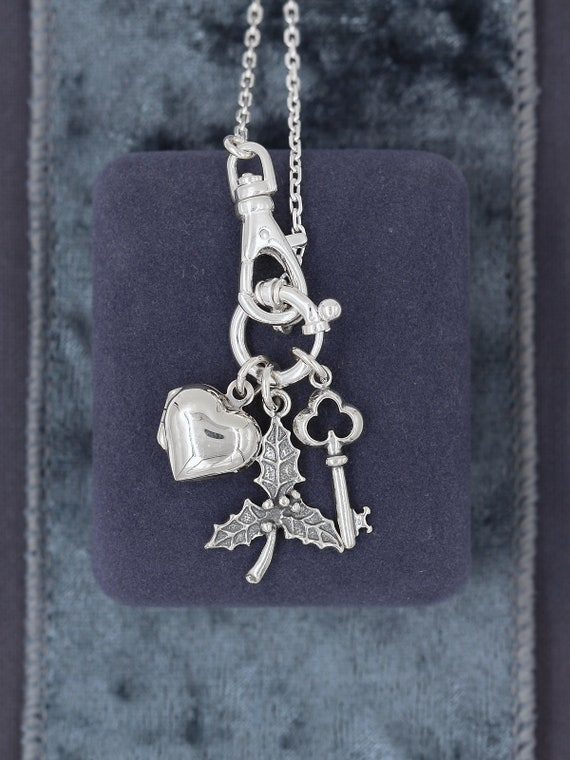 Sterling Silver Christmas Charm Necklace, Guard Chain Style Interchangeable Pendants - Christmas is the Key to My Heart