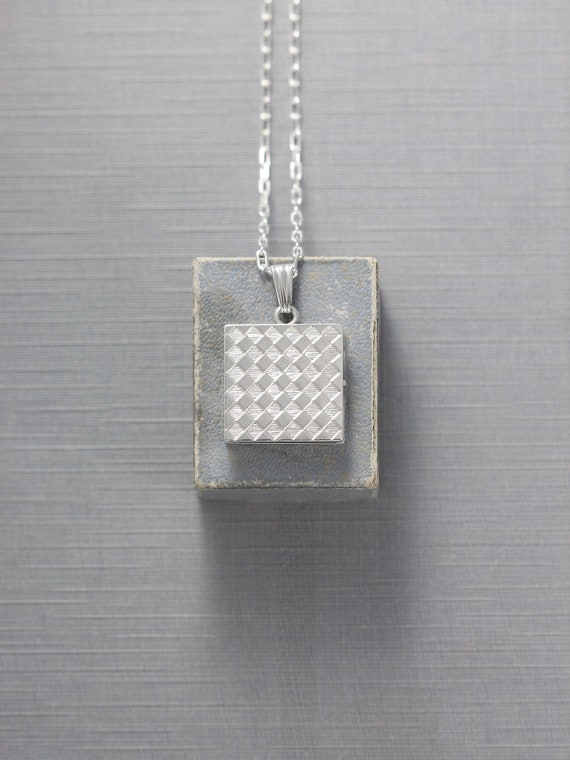 Sterling Silver Locket Necklace, Square Checkerboard Patterned Vintage Photo Pendant - Crisscross