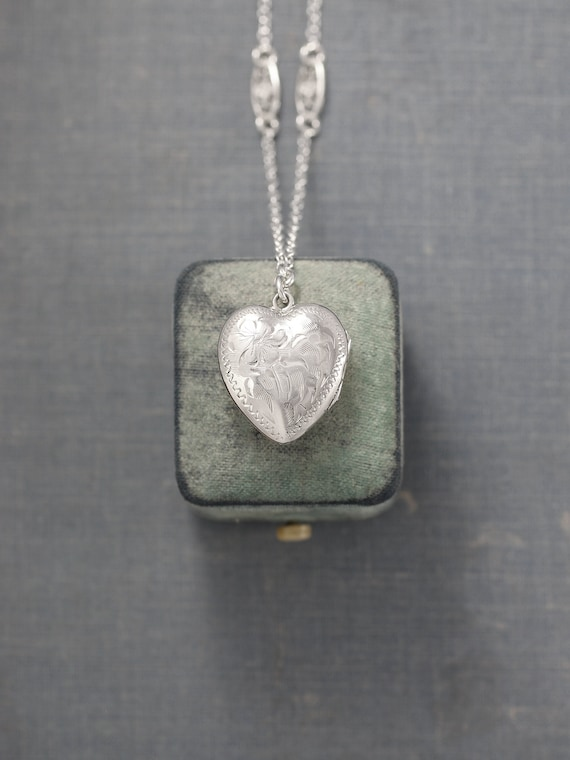 Sterling Silver Heart Locket Necklace, Vintage Photo Pendant on Special Filigree Chain - My Love