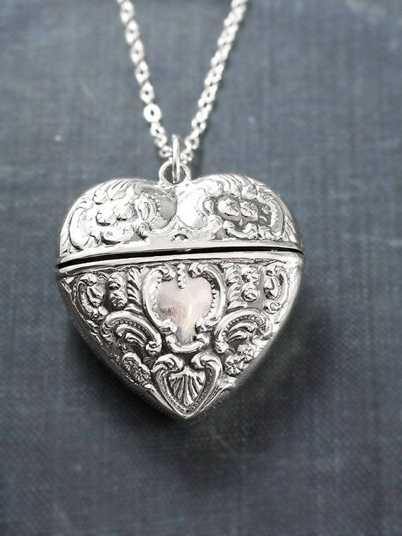 Large Sterling Silver Heart Locket Necklace, Filigree Repousse Victorian Style Pendant - Chatelaine