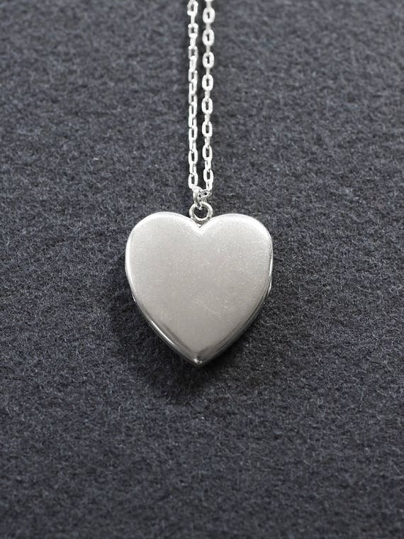 Vintage Sterling Silver Heart Locket Necklace, Rare Circa 1940's Plain Photo Pendant - Mia