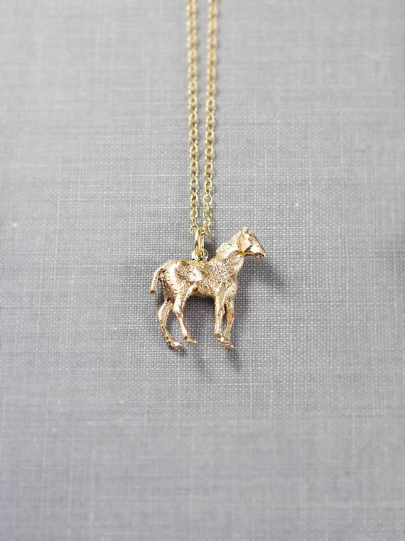 Vintage 9ct Gold Horse Pendant Necklace, 1977 Hallmarked Solid 9 Karat Gold Charm - Golden Beauty