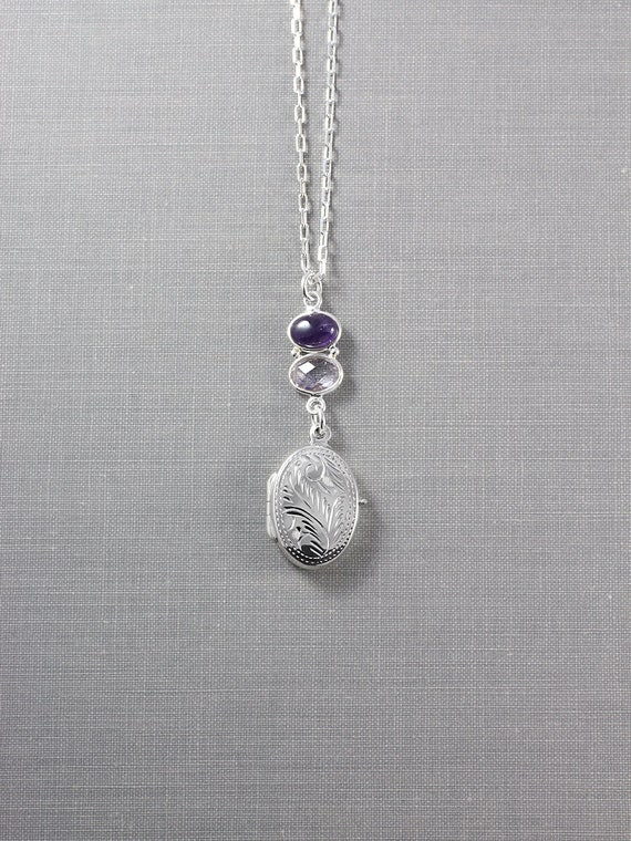 February Birthstone Sterling Silver Locket Necklace, Small Oval Photo Pendant w/ Amethyst - Ultra Violet