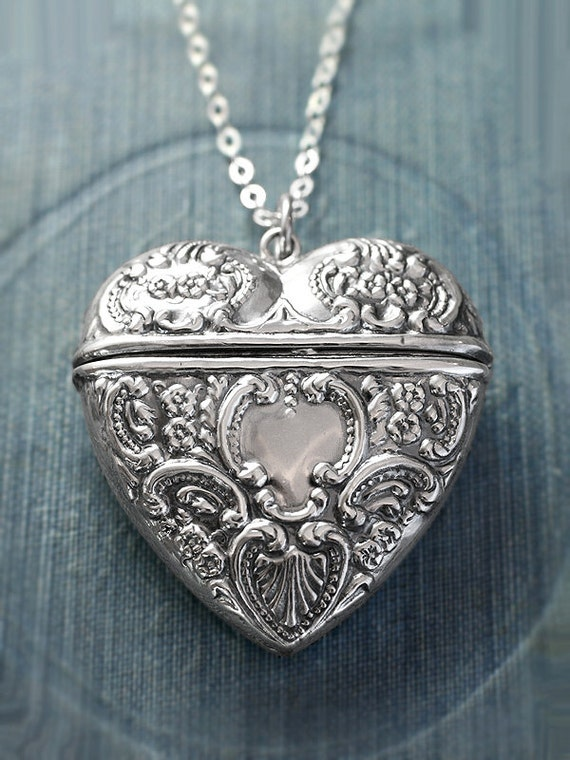 Extra Large Heart Sterling Silver Locket Necklace, Filigree Embossed Love Letter Carrier Design - Chatelaine